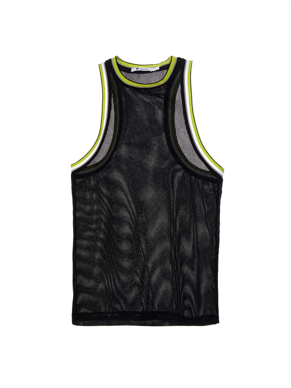 Waffle Mesh Tank Top - pattern: plain; sleeve style: sleeveless; style: vest top; predominant colour: black; occasions: casual, activity; length: standard; fit: body skimming; neckline: crew; sleeve length: sleeveless; pattern type: fabric; texture group: other - light to midweight; fibres: viscose/rayon - mix; season: a/w 2014