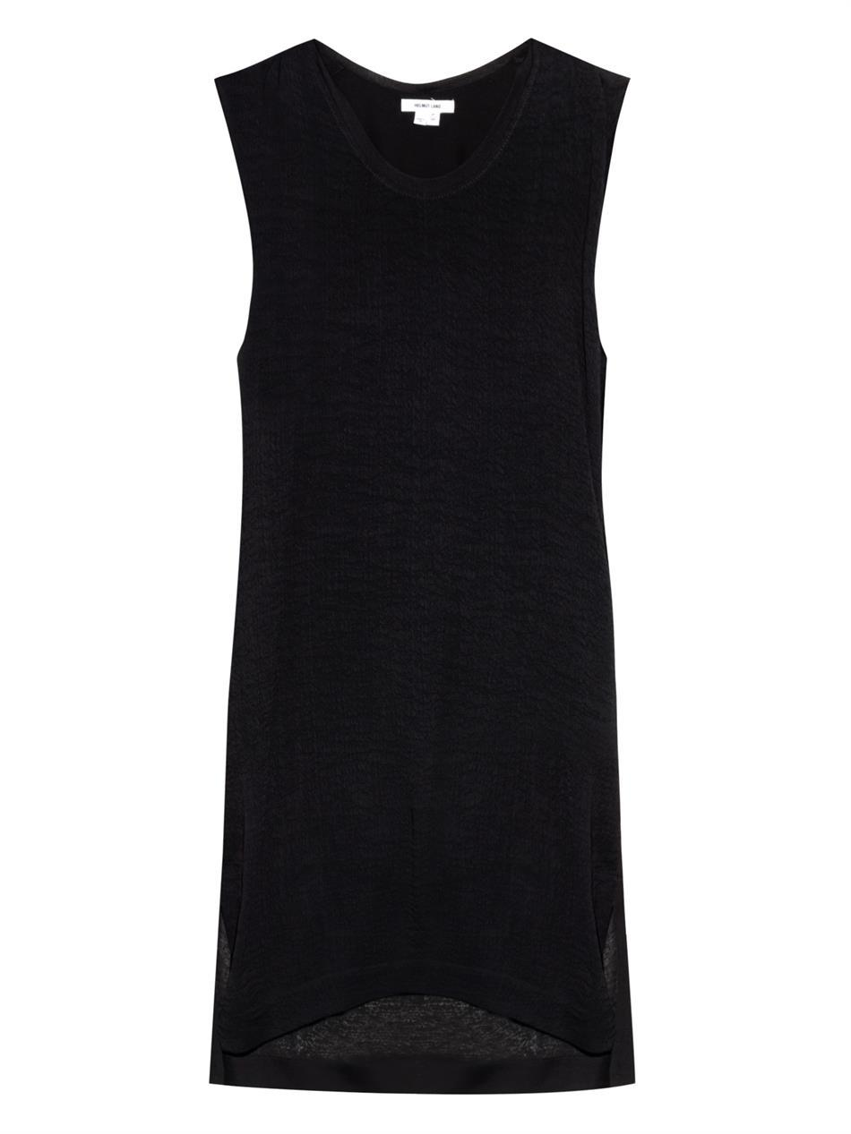 Swift Draped Back Dress - style: shift; neckline: round neck; sleeve style: capped; pattern: plain; predominant colour: black; occasions: casual, evening, creative work; length: just above the knee; fit: straight cut; sleeve length: sleeveless; pattern type: fabric; texture group: jersey - stretchy/drapey; fibres: viscose/rayon - mix; season: a/w 2014; wardrobe: basic