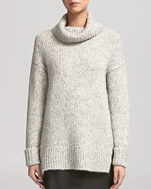 Sweater Roll Neck Textured Oversized - length: below the bottom; neckline: roll neck; style: standard; predominant colour: ivory/cream; occasions: casual; fibres: cotton - mix; fit: loose; sleeve length: long sleeve; sleeve style: standard; texture group: knits/crochet; pattern type: knitted - other; pattern: marl; season: a/w 2014; wardrobe: basic