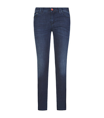 J28 Skinny Jeans - style: skinny leg; length: standard; pattern: plain; waist: low rise; pocket detail: traditional 5 pocket; predominant colour: navy; occasions: casual; fibres: cotton - stretch; jeans detail: whiskering, shading down centre of thigh, dark wash; texture group: denim; pattern type: fabric; season: a/w 2014; wardrobe: basic