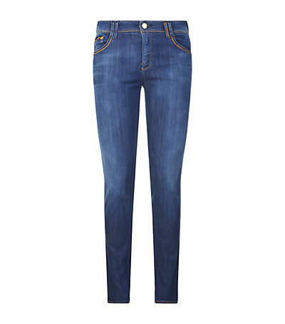 J28 Denim Lover Skinny Jeans - style: skinny leg; length: standard; pattern: plain; pocket detail: traditional 5 pocket; waist: mid/regular rise; predominant colour: royal blue; occasions: casual; fibres: cotton - stretch; jeans detail: shading down centre of thigh; texture group: denim; pattern type: fabric; season: a/w 2014; wardrobe: basic