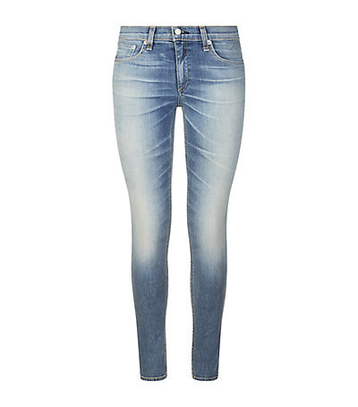 Skinny Jeans - style: skinny leg; length: standard; pattern: plain; waist: low rise; pocket detail: traditional 5 pocket; secondary colour: pale blue; predominant colour: denim; occasions: casual; fibres: cotton - mix; jeans detail: shading down centre of thigh; texture group: denim; pattern type: fabric; season: a/w 2014; wardrobe: basic