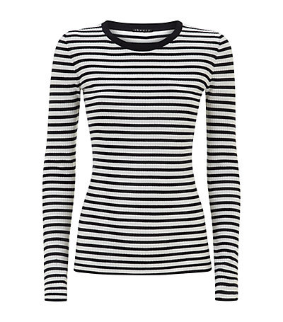 Mirzi Stripe Sweater - pattern: horizontal stripes; style: standard; secondary colour: white; predominant colour: black; occasions: casual; length: standard; fibres: wool - 100%; fit: slim fit; neckline: crew; sleeve length: long sleeve; sleeve style: standard; texture group: knits/crochet; pattern type: knitted - fine stitch; season: s/s 2015; pattern size: big & busy (top); wardrobe: highlight
