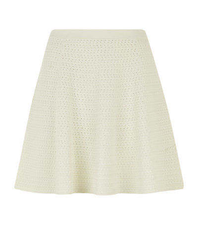 Textured Knit Mini Skirt - length: mid thigh; pattern: plain; fit: loose/voluminous; waist: mid/regular rise; predominant colour: ivory/cream; occasions: casual; style: a-line; fibres: viscose/rayon - stretch; texture group: knits/crochet; pattern type: knitted - big stitch; season: s/s 2015; wardrobe: basic
