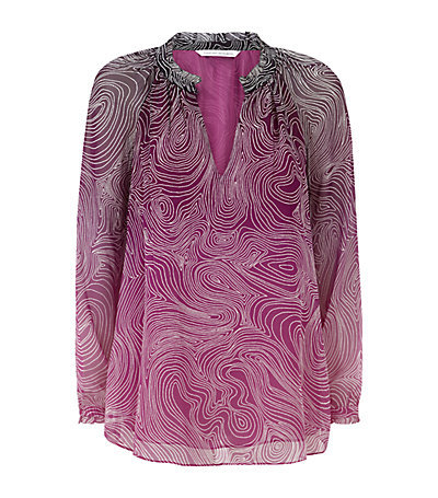 Leysa Top - length: below the bottom; predominant colour: magenta; occasions: casual, evening, creative work; style: top; neckline: collarstand & mandarin with v-neck; fibres: silk - 100%; fit: loose; sleeve length: long sleeve; sleeve style: standard; texture group: sheer fabrics/chiffon/organza etc.; pattern type: fabric; pattern: patterned/print; season: s/s 2015; pattern size: big & busy (top)