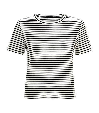 Crew Stripe Cropped T Shirt - pattern: horizontal stripes; style: t-shirt; secondary colour: white; predominant colour: black; occasions: casual; length: standard; fibres: cotton - 100%; fit: body skimming; neckline: crew; sleeve length: short sleeve; sleeve style: standard; pattern type: fabric; texture group: jersey - stretchy/drapey; season: s/s 2015; wardrobe: basic