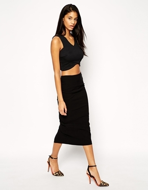 High Waist Longerline Pencil Skirt Black - length: calf length; pattern: plain; style: pencil; fit: tight; waist: high rise; predominant colour: black; occasions: evening; texture group: jersey - clingy; pattern type: fabric; fibres: viscose/rayon - mix; season: s/s 2015; wardrobe: event