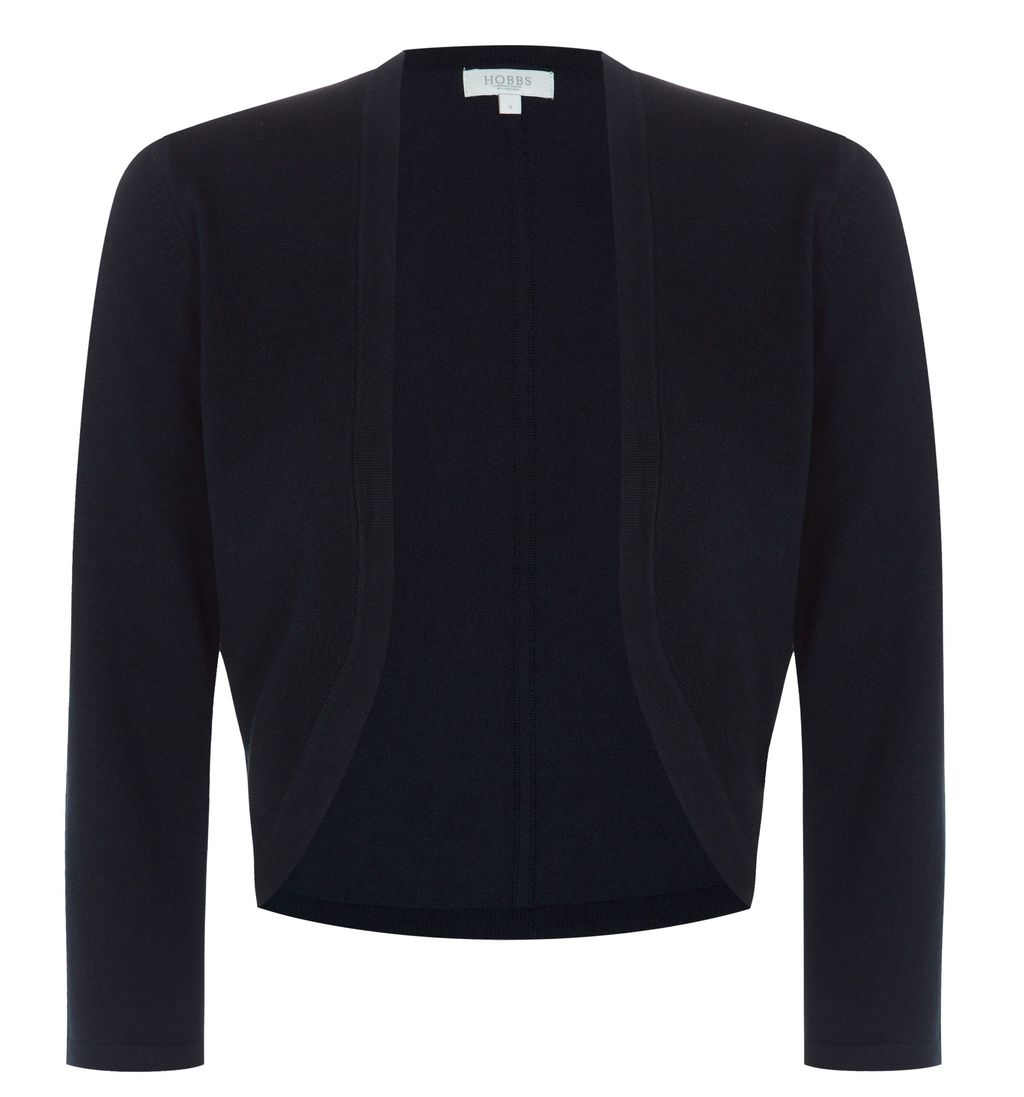 Carrie Bolero, Navy - pattern: plain; style: bolero/shrug; collar: round collar/collarless; fit: slim fit; predominant colour: navy; occasions: evening, work, occasion, creative work; fibres: polyester/polyamide - mix; sleeve length: 3/4 length; sleeve style: standard; texture group: knits/crochet; collar break: low/open; pattern type: knitted - fine stitch; season: s/s 2015; length: cropped; wardrobe: investment