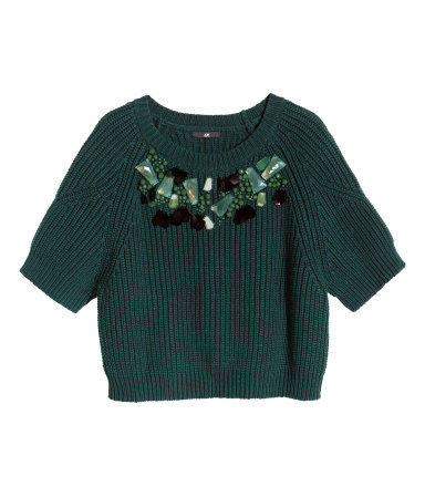 Beaded Jumper - pattern: plain; length: cropped; style: standard; predominant colour: dark green; occasions: casual, creative work; fibres: cotton - mix; fit: slim fit; neckline: crew; sleeve length: short sleeve; sleeve style: standard; texture group: knits/crochet; pattern type: knitted - other; embellishment: beading; season: s/s 2015; wardrobe: highlight; embellishment location: bust, neck
