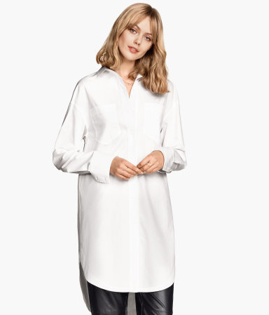 Oversized Cotton Shirt - neckline: shirt collar/peter pan/zip with opening; pattern: plain; style: shirt; predominant colour: white; occasions: work, creative work; fibres: cotton - 100%; fit: loose; length: mid thigh; sleeve length: long sleeve; sleeve style: standard; texture group: cotton feel fabrics; pattern type: fabric; season: s/s 2015; wardrobe: basic