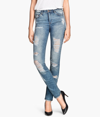 Slim Jeans - style: skinny leg; length: standard; pattern: plain; pocket detail: traditional 5 pocket; waist: mid/regular rise; predominant colour: pale blue; occasions: casual; fibres: cotton - stretch; jeans detail: shading down centre of thigh, washed/faded, rips; texture group: denim; pattern type: fabric; season: s/s 2015; wardrobe: basic