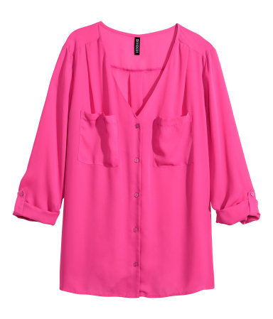 V Neck Blouse - neckline: v-neck; pattern: plain; style: shirt; predominant colour: hot pink; occasions: casual, creative work; length: standard; fibres: polyester/polyamide - 100%; fit: straight cut; sleeve length: 3/4 length; sleeve style: standard; bust detail: bulky details at bust; pattern type: fabric; texture group: other - light to midweight; season: s/s 2015; wardrobe: highlight