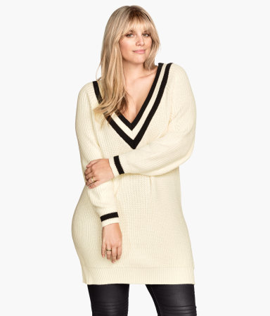 + V Neck Jumper - neckline: low v-neck; pattern: plain; style: standard; predominant colour: ivory/cream; occasions: casual; fibres: acrylic - mix; fit: slim fit; length: mid thigh; sleeve length: long sleeve; sleeve style: standard; texture group: knits/crochet; season: s/s 2015