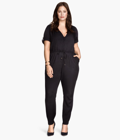 + Jumpsuit - length: standard; neckline: low v-neck; pattern: plain; waist detail: belted waist/tie at waist/drawstring; predominant colour: black; occasions: evening; fit: body skimming; fibres: viscose/rayon - 100%; sleeve length: short sleeve; sleeve style: standard; style: jumpsuit; pattern type: fabric; texture group: jersey - stretchy/drapey; season: s/s 2015; wardrobe: event