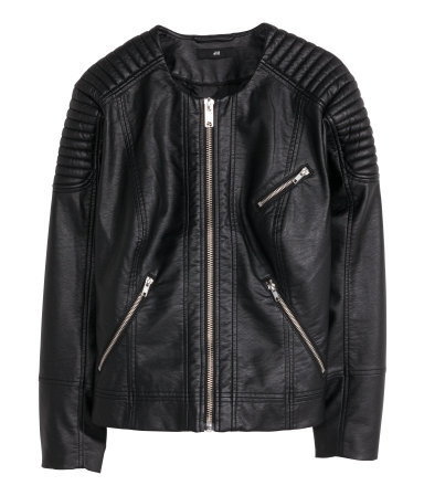 + Biker Jacket - pattern: plain; style: biker; collar: standard biker; fit: slim fit; predominant colour: black; occasions: casual, creative work; length: standard; fibres: polyester/polyamide - 100%; sleeve length: long sleeve; sleeve style: standard; texture group: leather; collar break: high/illusion of break when open; embellishment: quilted; season: s/s 2015; wardrobe: basic