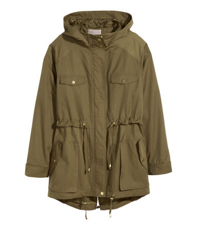 + Parka - pattern: plain; length: below the bottom; collar: funnel; style: parka; predominant colour: khaki; occasions: casual, creative work; fit: straight cut (boxy); fibres: cotton - mix; hip detail: subtle/flattering hip detail; waist detail: belted waist/tie at waist/drawstring; sleeve length: long sleeve; sleeve style: standard; texture group: cotton feel fabrics; collar break: high; pattern type: fabric; season: s/s 2015; wardrobe: basic