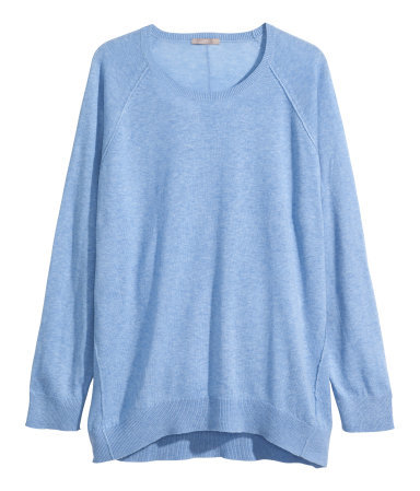 + Fine Knit Jumper - neckline: round neck; pattern: plain; length: below the bottom; style: standard; predominant colour: pale blue; occasions: casual, creative work; fibres: cotton - mix; fit: loose; sleeve length: long sleeve; sleeve style: standard; texture group: knits/crochet; season: s/s 2015; wardrobe: highlight