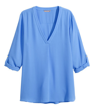 + V Neck Blouse - neckline: low v-neck; pattern: plain; length: below the bottom; style: blouse; predominant colour: pale blue; occasions: casual, work, creative work; fibres: polyester/polyamide - 100%; fit: straight cut; sleeve length: half sleeve; sleeve style: standard; pattern type: fabric; texture group: other - light to midweight; season: s/s 2015; wardrobe: highlight