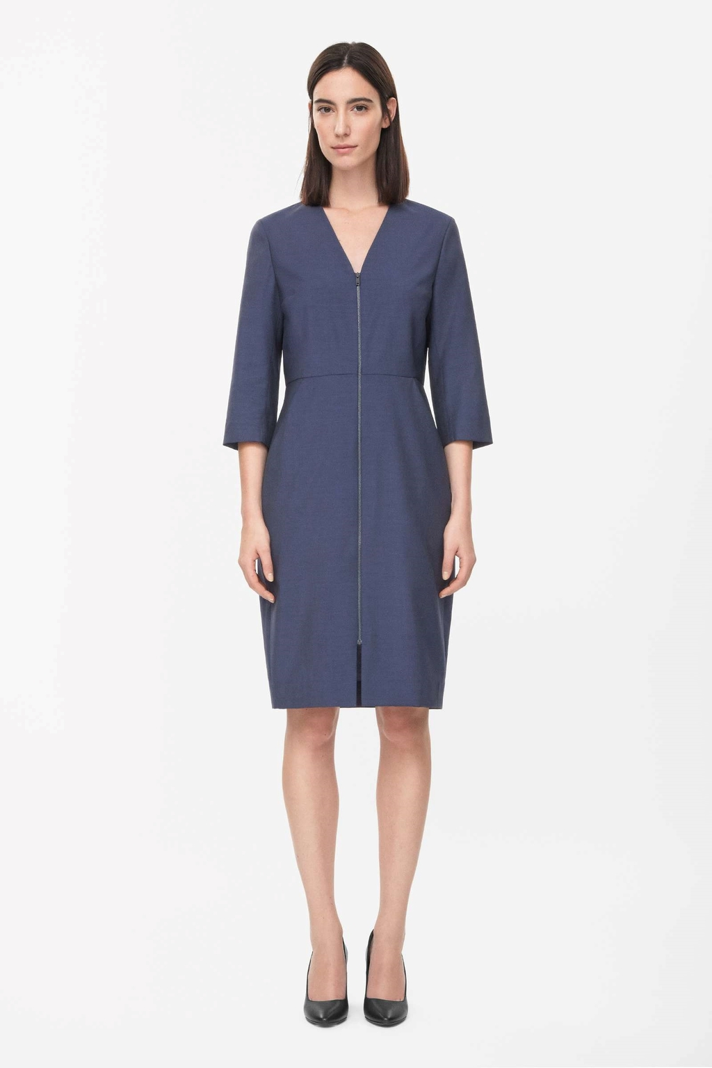 Zip Up Wool Dress - style: shift; neckline: v-neck; fit: tailored/fitted; pattern: plain; predominant colour: navy; occasions: casual, work, creative work; length: just above the knee; fibres: wool - 100%; sleeve length: 3/4 length; sleeve style: standard; pattern type: fabric; texture group: woven light midweight; embellishment: zips; season: s/s 2015; wardrobe: highlight; embellishment location: bust, skirt