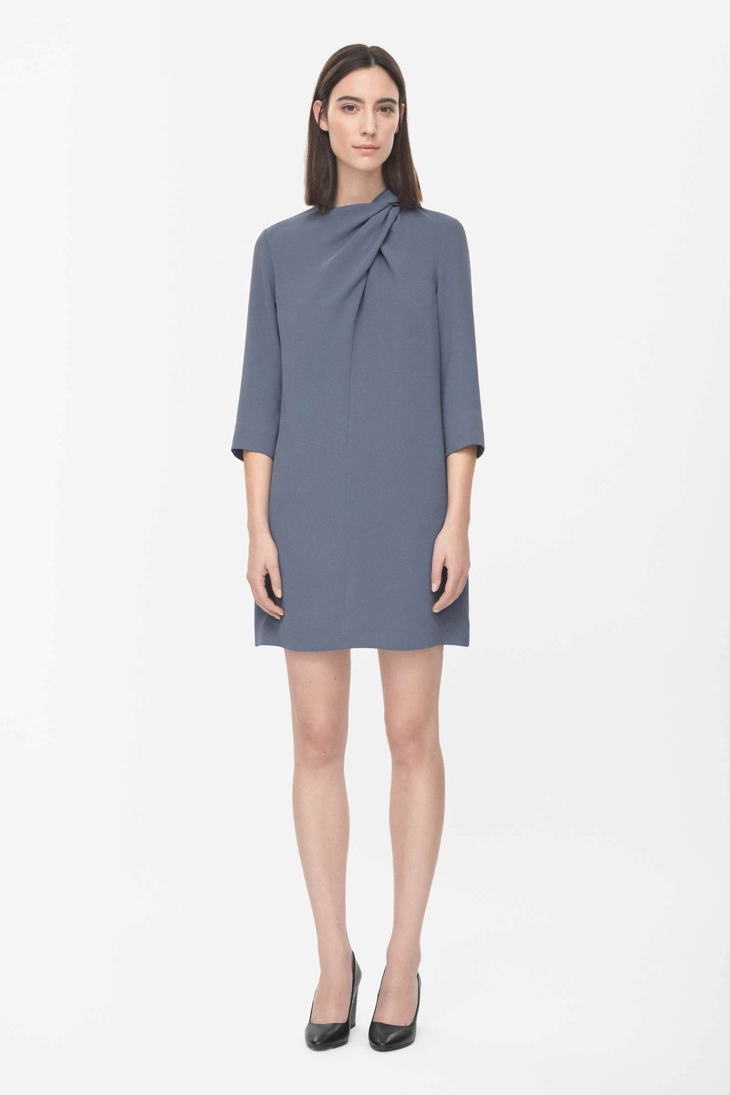 Draped Neck Dress - style: shift; length: mid thigh; pattern: plain; bust detail: ruching/gathering/draping/layers/pintuck pleats at bust; predominant colour: denim; occasions: evening, occasion, creative work; fit: straight cut; fibres: polyester/polyamide - 100%; neckline: crew; sleeve length: 3/4 length; sleeve style: standard; texture group: crepes; season: s/s 2015; wardrobe: highlight