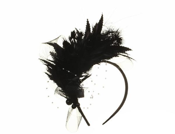 Taro - predominant colour: black; occasions: occasion; type of pattern: standard; embellishment: feathers; style: fascinator; size: standard; material: sinamay; pattern: plain; season: s/s 2015