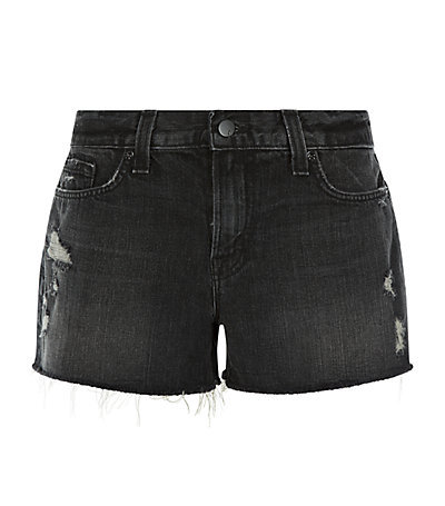 Cut Off Shorts - pattern: plain; pocket detail: traditional 5 pocket; waist: mid/regular rise; predominant colour: charcoal; occasions: casual, holiday; fibres: cotton - stretch; texture group: denim; pattern type: fabric; season: s/s 2015; style: denim; length: short shorts; fit: slim leg