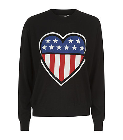 Usa Flag Heart Sweater - style: standard; secondary colour: true red; predominant colour: black; occasions: casual, creative work; length: standard; fibres: silk - mix; fit: slim fit; neckline: crew; sleeve length: long sleeve; sleeve style: standard; texture group: knits/crochet; pattern: patterned/print; season: s/s 2015; wardrobe: highlight