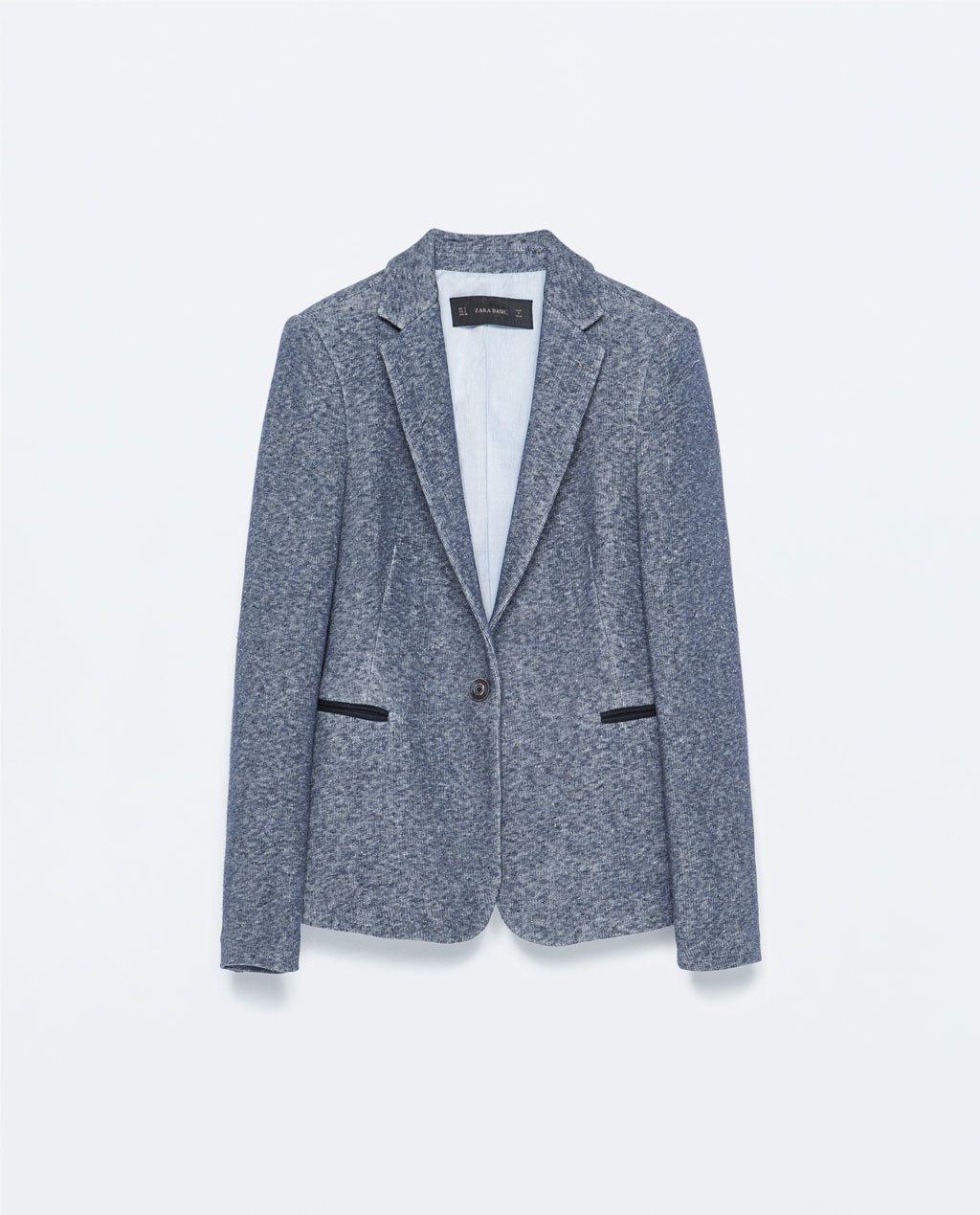 Jacket - style: single breasted blazer; collar: standard lapel/rever collar; pattern: herringbone/tweed; predominant colour: navy; occasions: casual, work, creative work; length: standard; fit: tailored/fitted; fibres: cotton - mix; sleeve length: long sleeve; sleeve style: standard; collar break: low/open; pattern type: fabric; pattern size: standard; texture group: woven light midweight; season: s/s 2015; hip detail: front pockets at hip