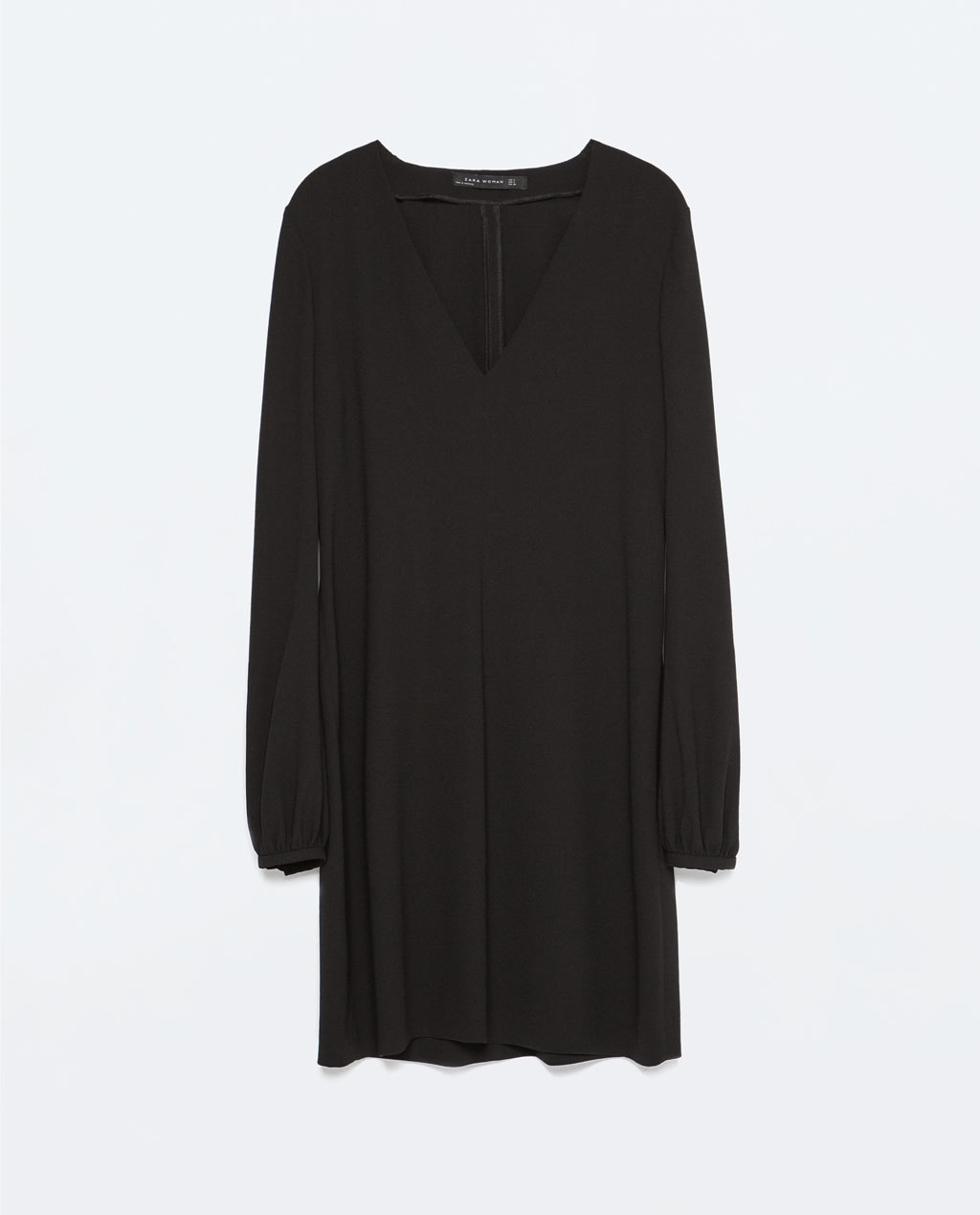Long Sleeved Full Dress - style: shift; length: mid thigh; neckline: low v-neck; pattern: plain; sleeve style: balloon; predominant colour: black; occasions: evening, creative work; fit: soft a-line; fibres: polyester/polyamide - 100%; sleeve length: long sleeve; texture group: crepes; pattern type: fabric; season: s/s 2015; wardrobe: investment