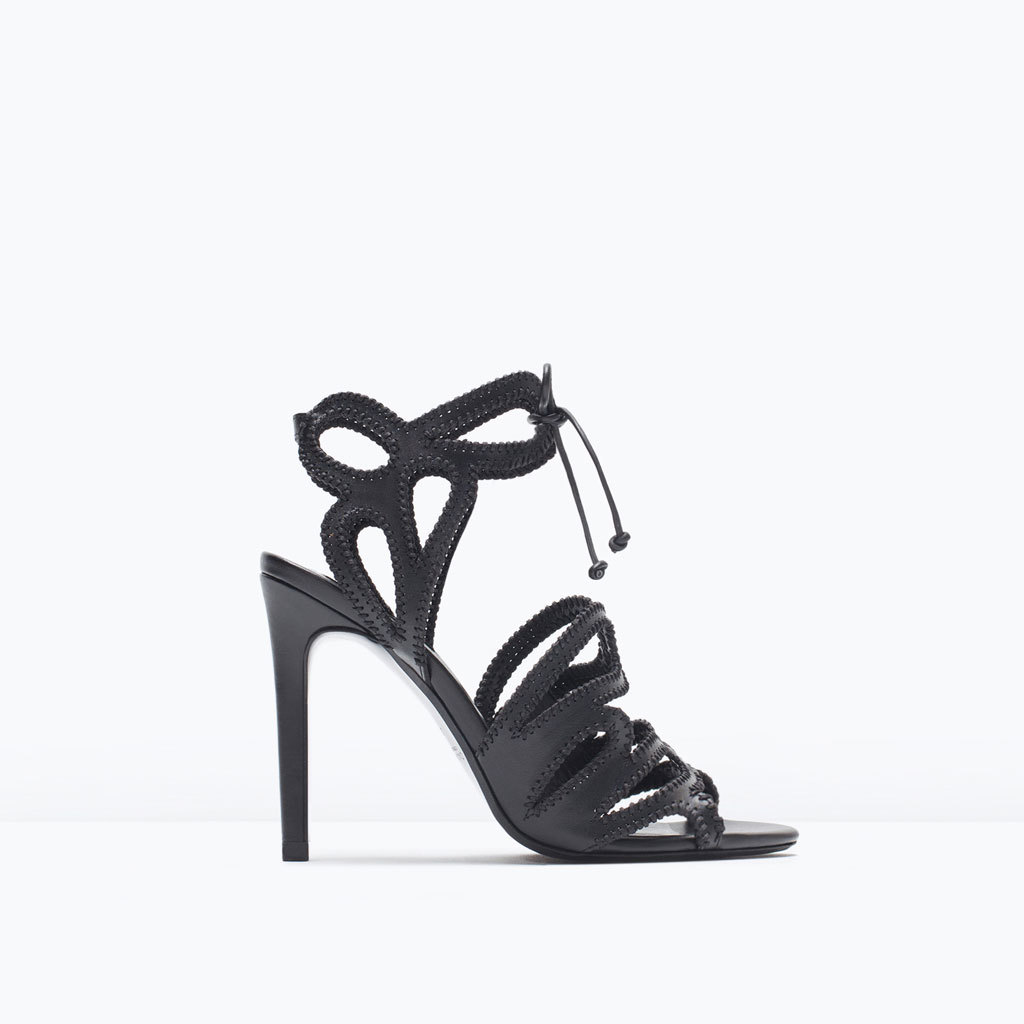 High Heeled Wraparound Interlaced Sandals - predominant colour: black; occasions: evening, occasion; material: faux leather; ankle detail: ankle strap; heel: stiletto; toe: open toe/peeptoe; style: strappy; finish: plain; pattern: plain; heel height: very high; season: s/s 2015; wardrobe: event