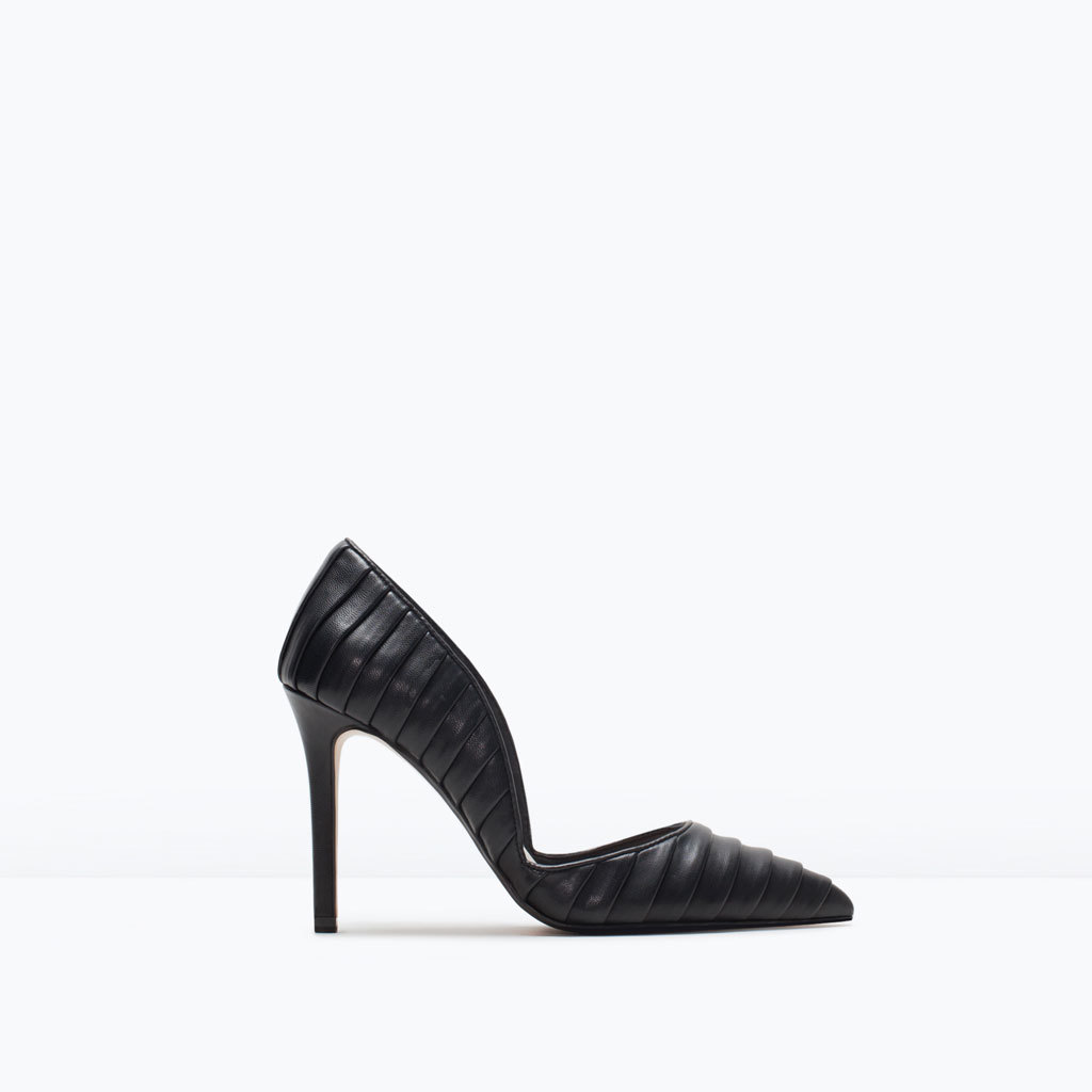 Pleated Court Shoes - predominant colour: black; occasions: evening, work, occasion; material: faux leather; heel height: high; heel: stiletto; toe: pointed toe; style: courts; finish: plain; pattern: plain; season: s/s 2015