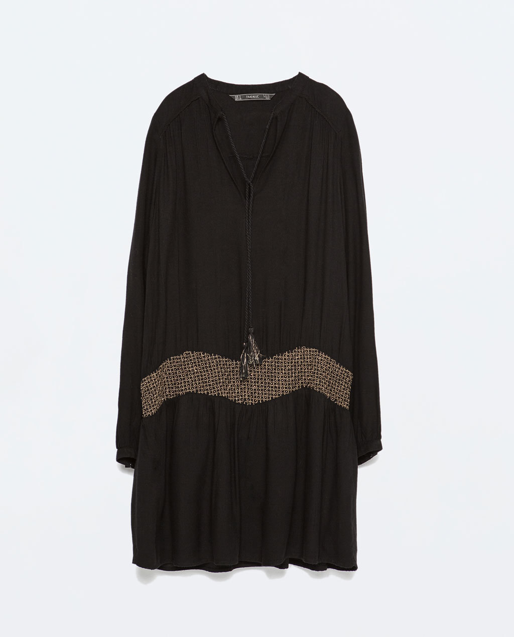 Embroidered Dress - style: tunic; length: mid thigh; neckline: low v-neck; fit: loose; pattern: plain; secondary colour: stone; predominant colour: black; occasions: casual, evening, creative work; fibres: cotton - 100%; sleeve length: long sleeve; sleeve style: standard; texture group: cotton feel fabrics; pattern type: fabric; embellishment: embroidered; season: s/s 2015; wardrobe: highlight; embellishment location: waist