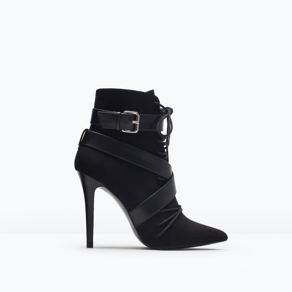 Lace Up High Heeled Bootie - predominant colour: black; material: suede; embellishment: buckles; heel: stiletto; toe: pointed toe; boot length: ankle boot; style: standard; finish: plain; pattern: plain; heel height: very high; occasions: creative work; season: s/s 2015; wardrobe: highlight