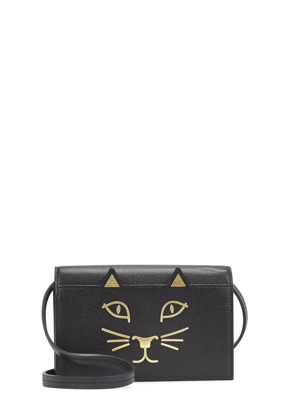 Mini Black Leather Cat Face Shoulder Bag - secondary colour: gold; predominant colour: black; occasions: casual, creative work; type of pattern: standard; style: messenger; length: across body/long; size: mini; material: leather; finish: plain; pattern: patterned/print; season: s/s 2015; wardrobe: highlight