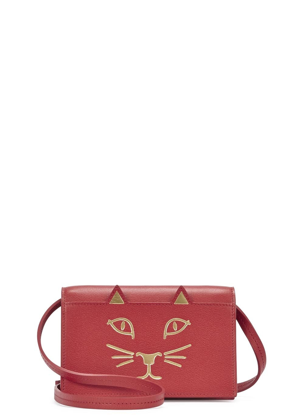 Mini Red Leather Cat Face Shoulder Bag - predominant colour: true red; secondary colour: gold; occasions: casual; type of pattern: standard; style: messenger; length: across body/long; size: mini; material: leather; finish: plain; pattern: patterned/print; season: s/s 2015; wardrobe: highlight