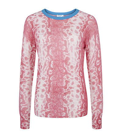 Sloane Snake Jumper - neckline: round neck; style: standard; secondary colour: white; predominant colour: pink; occasions: casual, creative work; length: standard; fit: standard fit; fibres: cashmere - 100%; sleeve length: long sleeve; sleeve style: standard; texture group: knits/crochet; pattern type: knitted - fine stitch; pattern size: light/subtle; pattern: animal print; season: s/s 2015; wardrobe: highlight
