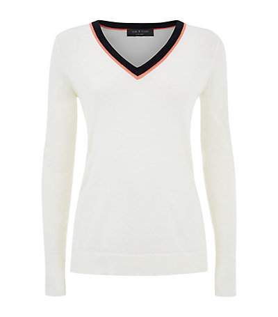 Vivian Neon Trim Sweater - neckline: v-neck; style: standard; predominant colour: white; secondary colour: black; occasions: casual, creative work; length: standard; fibres: wool - mix; fit: slim fit; sleeve length: long sleeve; sleeve style: standard; texture group: knits/crochet; pattern type: knitted - fine stitch; pattern: colourblock; season: s/s 2015