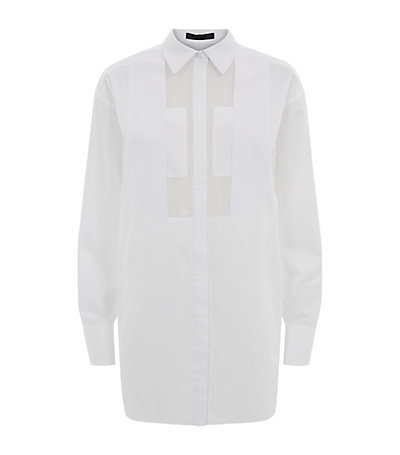 Sheer Bib Shirt - neckline: shirt collar/peter pan/zip with opening; pattern: plain; length: below the bottom; style: shirt; predominant colour: white; occasions: casual, evening, creative work; fibres: cotton - 100%; fit: straight cut; sleeve length: long sleeve; sleeve style: standard; texture group: cotton feel fabrics; pattern type: fabric; season: s/s 2015; wardrobe: basic