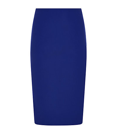 Leaf Crepe Pencil Skirt - length: below the knee; pattern: plain; style: pencil; fit: tailored/fitted; waist: mid/regular rise; predominant colour: royal blue; occasions: evening, work, occasion, creative work; texture group: crepes; pattern type: fabric; fibres: viscose/rayon - mix; season: s/s 2015; wardrobe: highlight