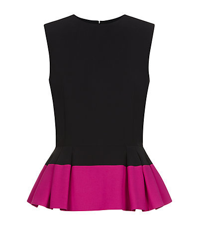 Leaf Crepe Peplum Top - sleeve style: sleeveless; waist detail: peplum waist detail; secondary colour: hot pink; predominant colour: black; occasions: casual, evening, creative work; length: standard; style: top; fibres: acrylic - mix; fit: tailored/fitted; neckline: crew; sleeve length: sleeveless; texture group: crepes; pattern type: fabric; pattern size: standard; pattern: colourblock; season: s/s 2015