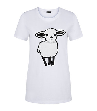 Sheep T Shirt - style: t-shirt; predominant colour: white; occasions: casual, creative work; length: standard; fibres: cotton - 100%; fit: body skimming; neckline: crew; sleeve length: short sleeve; sleeve style: standard; pattern type: fabric; pattern size: standard; texture group: jersey - stretchy/drapey; pattern: graphic/slogan; season: s/s 2015; wardrobe: highlight