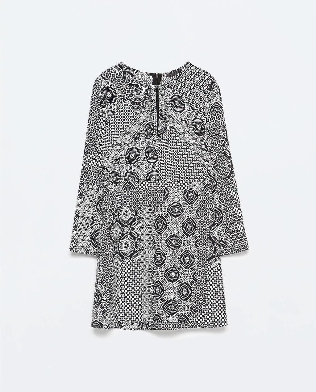 Patchwork Print Dress - style: shift; length: mid thigh; fit: loose; secondary colour: white; predominant colour: black; occasions: casual, creative work; fibres: polyester/polyamide - 100%; neckline: crew; sleeve length: 3/4 length; sleeve style: standard; texture group: crepes; pattern type: fabric; pattern size: standard; pattern: patterned/print; season: s/s 2015; wardrobe: highlight