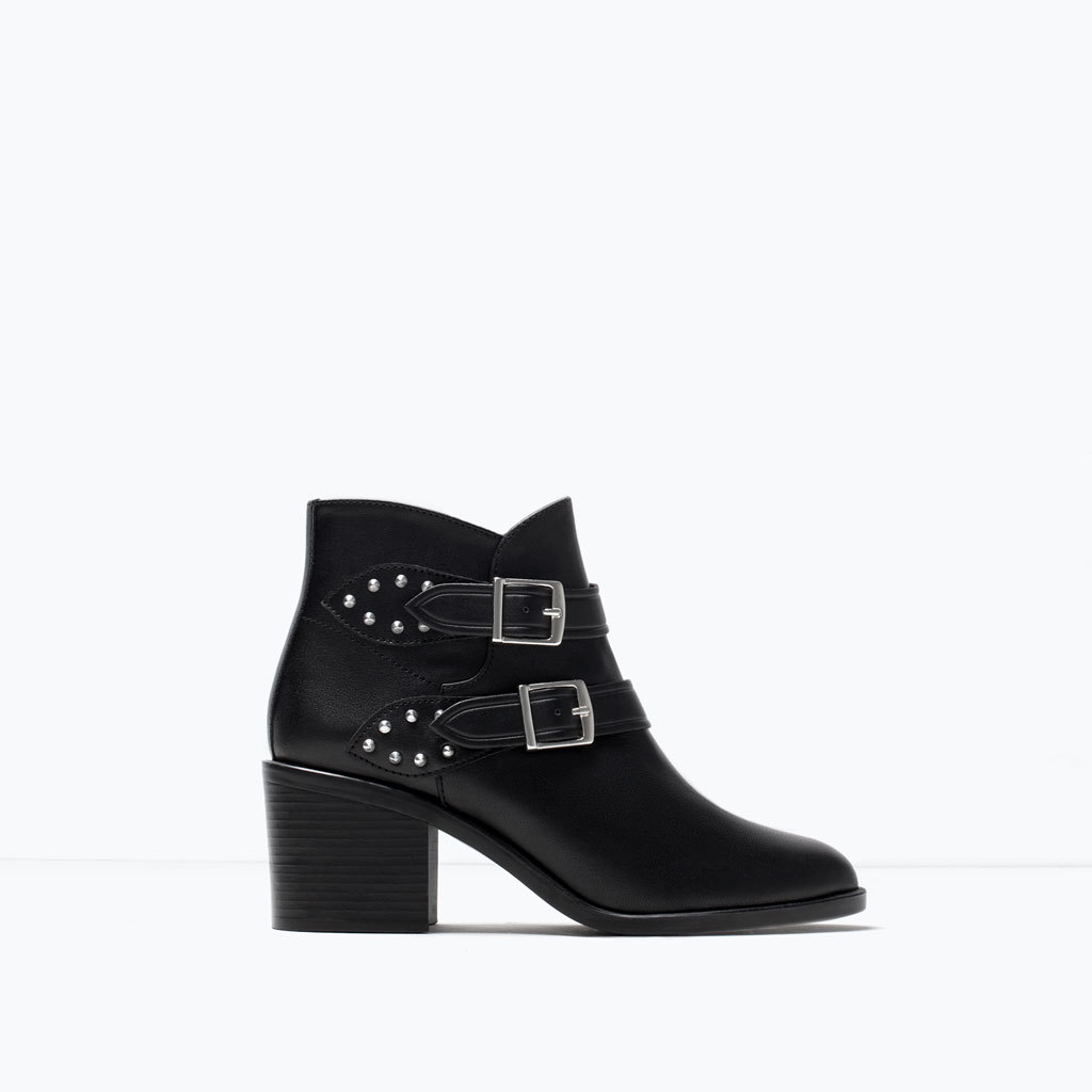 Leather Mid Heeled Buckled Bootie - predominant colour: black; occasions: casual, creative work; material: leather; heel height: mid; embellishment: buckles; heel: block; toe: round toe; boot length: ankle boot; style: standard; finish: plain; pattern: plain; season: s/s 2015; wardrobe: basic