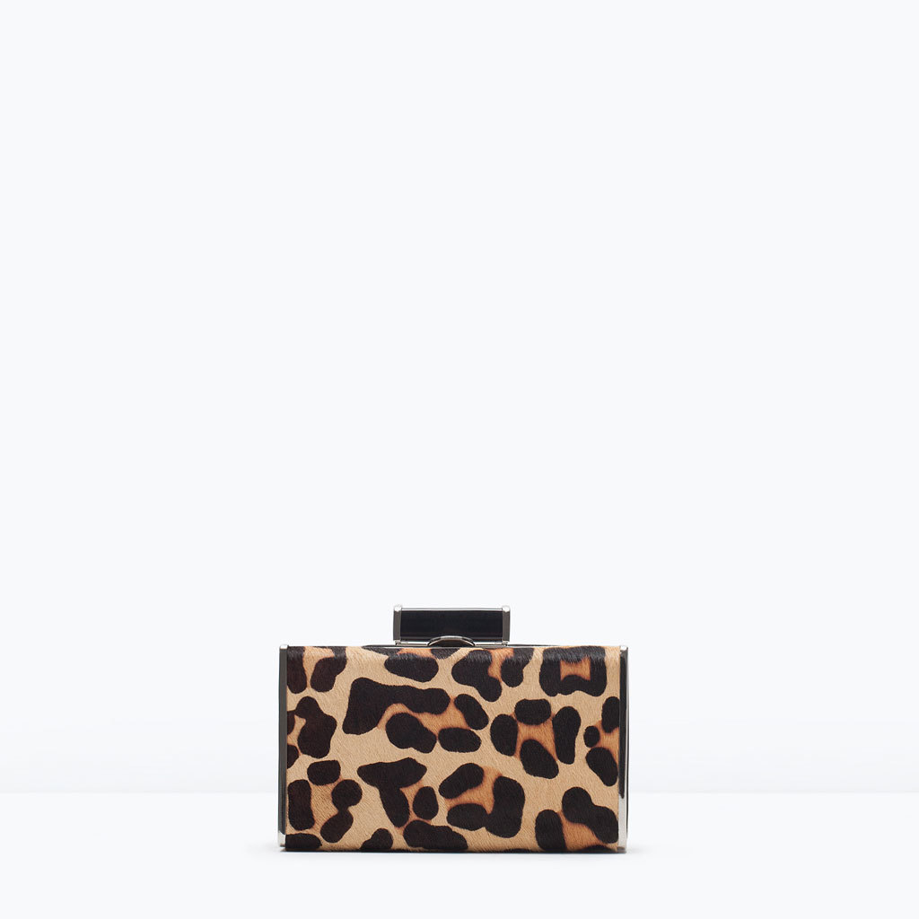 Printed Box Clutch - predominant colour: tan; secondary colour: black; occasions: evening, occasion; type of pattern: standard; style: clutch; length: hand carry; size: small; pattern: animal print; finish: plain; embellishment: chain/metal; material: faux suede; season: s/s 2015; wardrobe: event