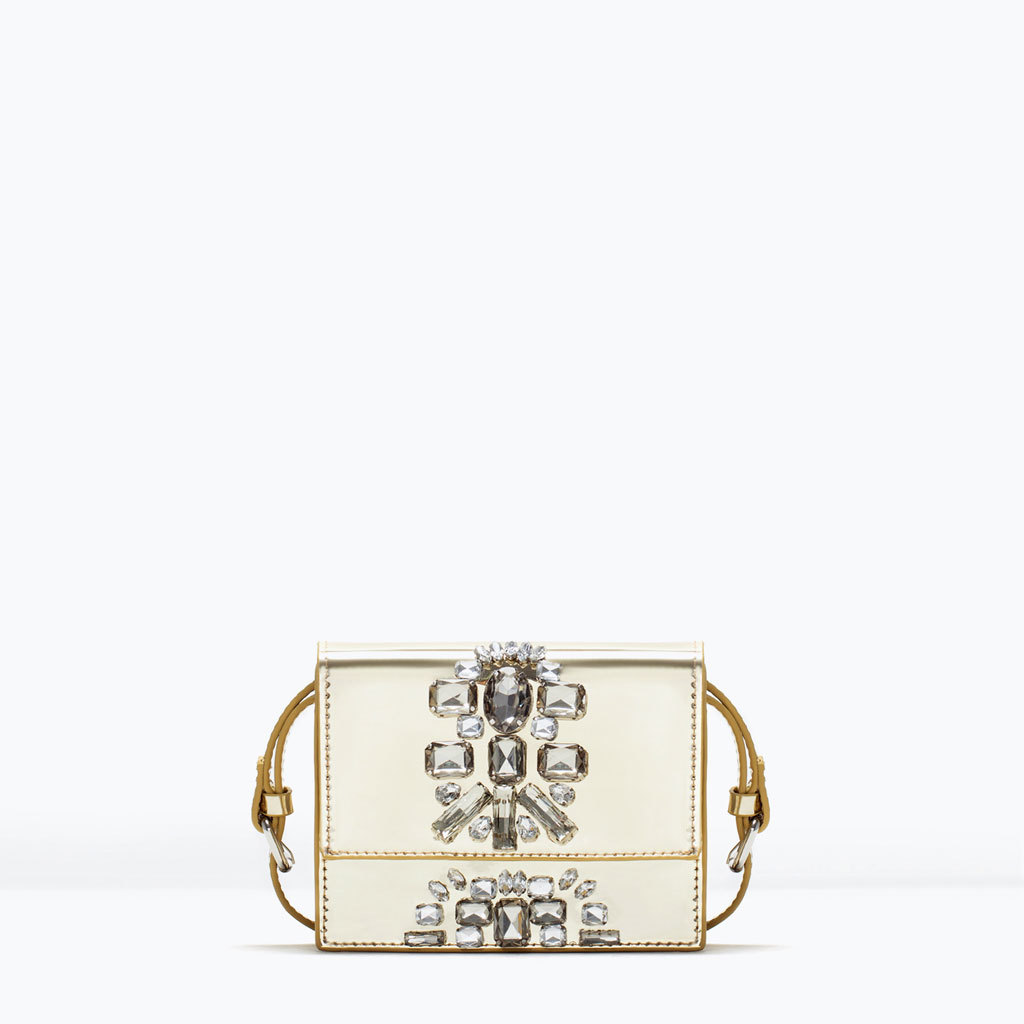 Jewels Cross Body Bag - predominant colour: ivory/cream; occasions: evening, occasion; style: satchel; length: across body/long; size: small; material: faux leather; pattern: plain; finish: metallic; embellishment: jewels/stone; season: s/s 2015