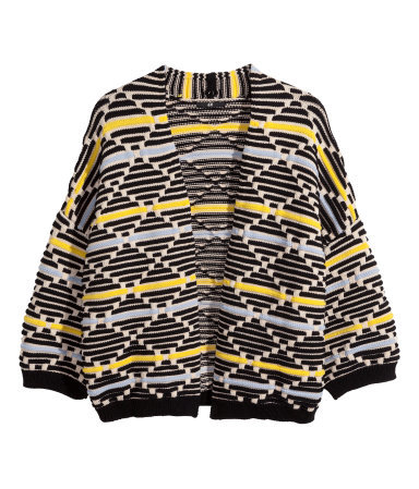 Pattern Knit Cardigan - sleeve style: dolman/batwing; neckline: collarless open; style: open front; secondary colour: primrose yellow; predominant colour: black; occasions: casual, creative work; length: standard; fibres: polyester/polyamide - 100%; fit: loose; sleeve length: long sleeve; texture group: knits/crochet; pattern type: knitted - fine stitch; pattern size: standard; pattern: patterned/print; season: s/s 2015; wardrobe: highlight
