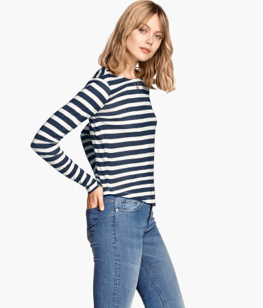 Patterned Jersey Top - neckline: slash/boat neckline; pattern: horizontal stripes; secondary colour: white; predominant colour: navy; occasions: casual, creative work; length: standard; style: top; fibres: viscose/rayon - 100%; fit: body skimming; sleeve length: long sleeve; sleeve style: standard; pattern type: fabric; pattern size: standard; texture group: jersey - stretchy/drapey; season: s/s 2015; wardrobe: basic
