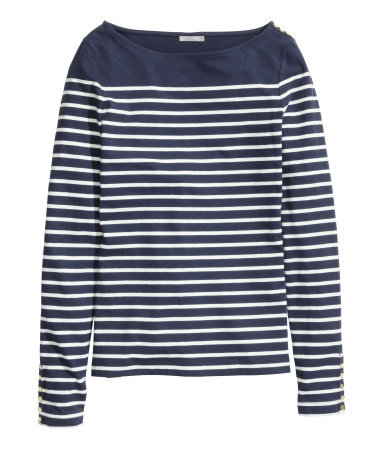 Boat Neck Top - neckline: slash/boat neckline; pattern: horizontal stripes; secondary colour: white; predominant colour: navy; occasions: casual, creative work; length: standard; style: top; fibres: cotton - stretch; fit: straight cut; sleeve length: long sleeve; sleeve style: standard; pattern type: fabric; pattern size: standard; texture group: jersey - stretchy/drapey; season: s/s 2015; wardrobe: basic