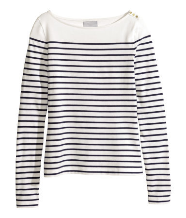 Boat Neck Top - neckline: slash/boat neckline; pattern: horizontal stripes; style: t-shirt; predominant colour: white; secondary colour: navy; occasions: casual, creative work; length: standard; fibres: cotton - 100%; fit: straight cut; sleeve length: long sleeve; sleeve style: standard; pattern type: fabric; pattern size: standard; texture group: jersey - stretchy/drapey; season: s/s 2015; wardrobe: basic
