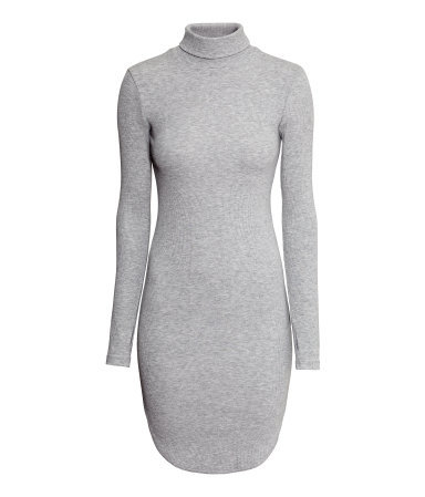 Ribbed Polo Neck Dress - style: t-shirt; length: mid thigh; pattern: plain; neckline: roll neck; predominant colour: mid grey; occasions: casual, creative work; fit: body skimming; fibres: viscose/rayon - stretch; sleeve length: long sleeve; sleeve style: standard; texture group: jersey - clingy; pattern type: fabric; season: s/s 2015